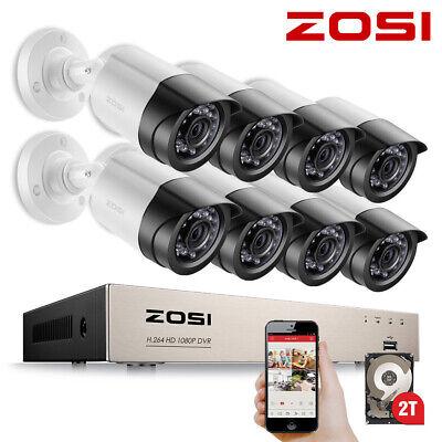 ZOSI 4CH/8CH 1080P DVR 2MP Außen IR Überwachungskamera Set Sicherheit