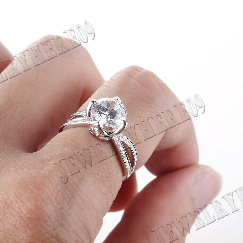 10K White Gold Brilliant Cathedral Round 8mm Cubic Zirconia Ladies ...