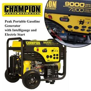 NEW Champion 9000 W Peak Portable Gasoline Generator with Intelligauge and Electric Start Condtion: New, No shipping