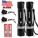 2x6000Lumen Rechargeable Tactical T6 LED Flashlight Torch+18650 Battery&Charger
