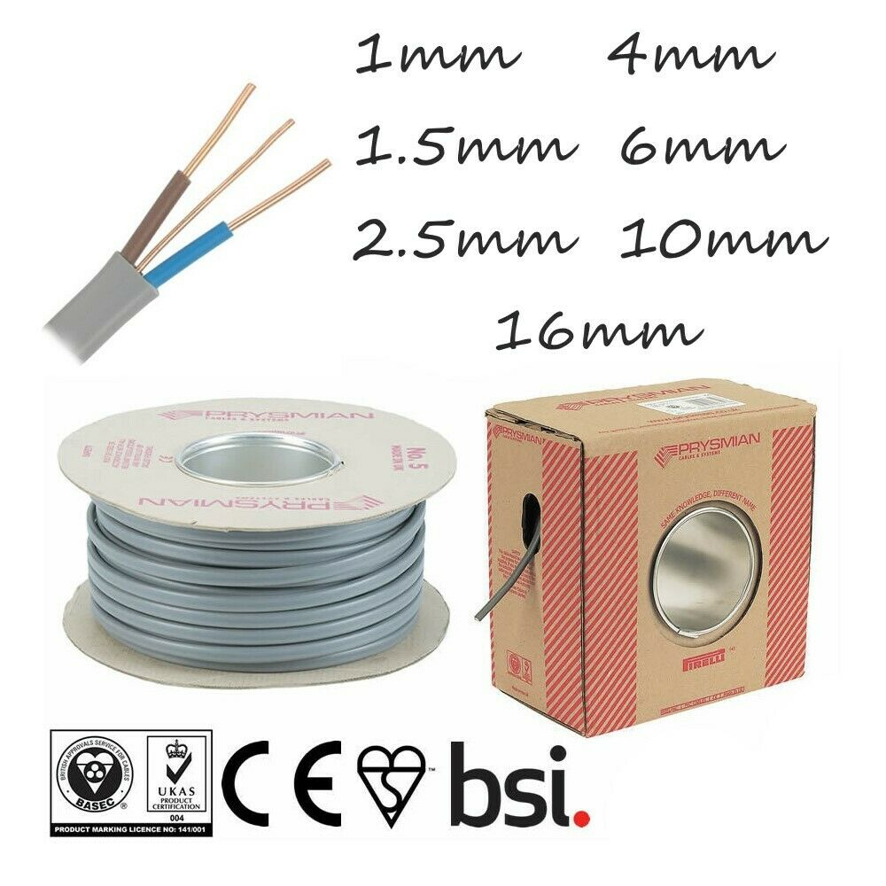 DOMESTIC ELECTRICAL LIGHTING UK 6242Y 1MM TWIN AND EARTH T/&E ELECTRIC CABLE WIRE