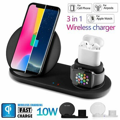 3 in 1 Wireless Charger Dock Stand iWatch Charging Station For iPhone X 8 S9 S8
