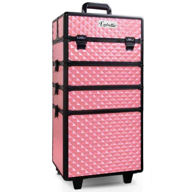 7 in 1 Portable Beauty Make Up Cosmetic Trolley Case Lightweight Diamond Pink