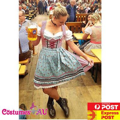 Ladies Oktoberfest Beer Maid Costume Wench German Dirdnl Gretchen Fancy Dress](Beer Wench Dress)