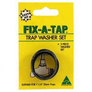3pc fix a tap trap washer set choice of 3 sizes 32mm 38mm. Black Bedroom Furniture Sets. Home Design Ideas