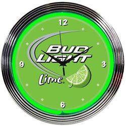 Bud Light Lime Neon Clock New Quartz Beer Wall Clock Neonetics