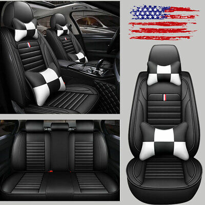 Universal 5-Sit Car Seat Covers Cushions PU Leather Truck Accessories For Toyota