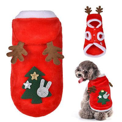 Chihuahua Santa - Dog Christmas Clothes Santa Costume Hoodie Pet Cat Xmas Coat Outfit Chihuahua