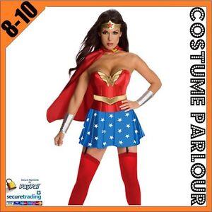 Womens Wonder Woman Superhero  Hero Comic Ladies Fancy Dress Costume Size 8 - 10