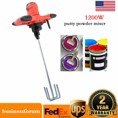 1200w Handheld Industrial Electric Concrete Cement Mixer Mixing Mortar 6speed Us