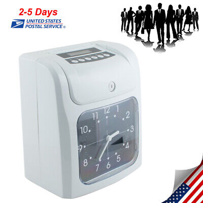 Office Electronic Time Clock Card Machine Employee Work Hours Recorder Fast Ship