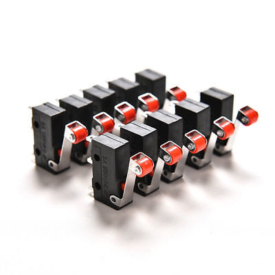 10pcs Micro Roller Lever Arm Open Close Limit Switch Kw12-3 Pcb Microswitch Pop