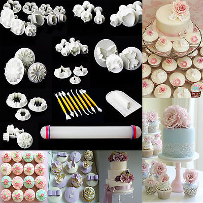 46PCS SUGARCRAFT CAKE CUPCAKE DECORATING FONDANT ICING PLUNGER CUTTERS TOOL MOLD