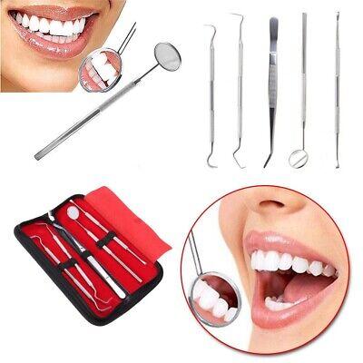 5 Pcs Dental Examination Hygiene Kit Teeth Cleaning Mirror Handle Explorer Probe