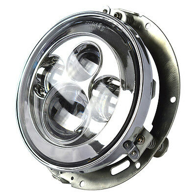 "7"" LED Projector Daymaker Chrome Headlight For Harley with Adapter Mount ring"
