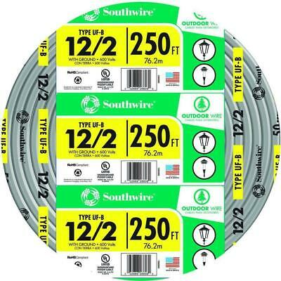 Southwire 250 ft. 12/2 Gray Solid CU UF-B W/G Wire