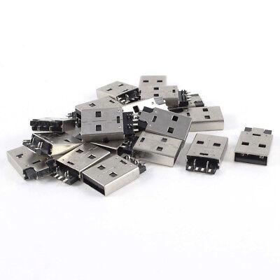 20 PCS USB MALE TYPE A PLUG 180 DEGREE 4 PIN SMD SMT JACK SOLDER BAF