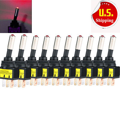 Lot 10 Dc 12v 20a Car Auto Red Led Light Toggle Rocker Switch 3pin Spst Onoff