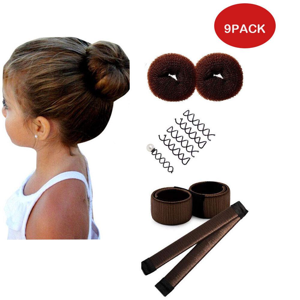 Girls Kids Hair Styling Tools French Bun Maker Sponge Former Magic Donut Twist Ebay