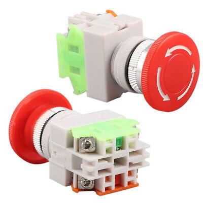 Dpst Switch Red Self Lock Emergency Stop Push Equipment Mushroom Cap Button