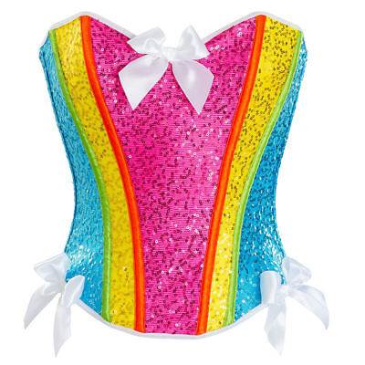 RAINBOW Dash UNICORN SEQUIN CORSET BUSTIER Sexy Halloween Costume Cosplay + - Rainbow Dash Cosplay Kostüm