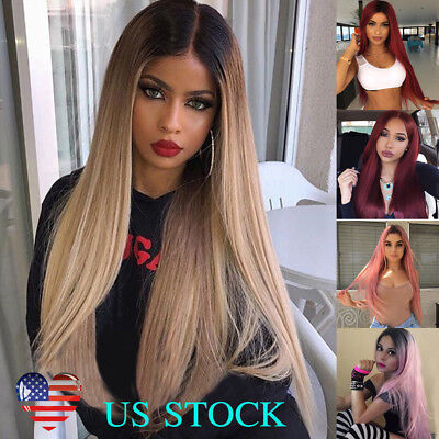 28'' Synthetic Straight Long Wigs Ombre Wine Red Pink Blonde Linen Cosplay Hair - Long Red Wig