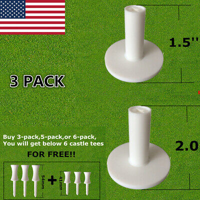 Rubber Tees For Golf Driving Range Practice Mats Different Size White 3 Pack US - Tees Driving Range