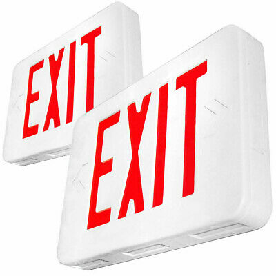 2pack Red Led Emergency Exit Light Sign - Battery Backup Ul924 Fire
