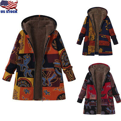 Women Hooded Winter Thicken Coat Cotton Long Sleeve Ethnic Print Jacket Outwear Cotton Thicken Long Sleeve