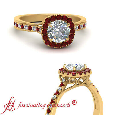 3/4 Carat Round Cut Diamond & Ruby Gemstone Vintage Looking Halo Engagement Ring