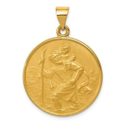 18k Yellow Gold Saint Christopher Figure On Round Medal - 18k Gold Medal