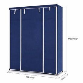 Triple 3 Door Deluxe Canvas Clothes Wardrobe Garment Rail Bedroom Furniture Storage