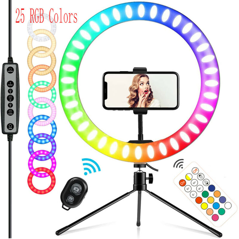 """10""""RGB Selfie Ring Light w/ Tripod Stand & Phone Holder Dimmable for Live Stream"""