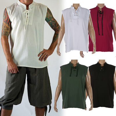 Renaissance Mens Sleeveless Knight Top Shirt Medieval Peasant Pirate Cos Costume