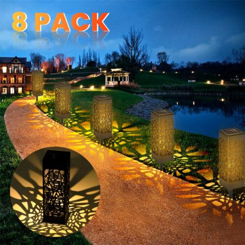8X LED Solarlampe Solarleuchte Gartenlicht Außen-Beleuchtung Schattenlaterne DHL