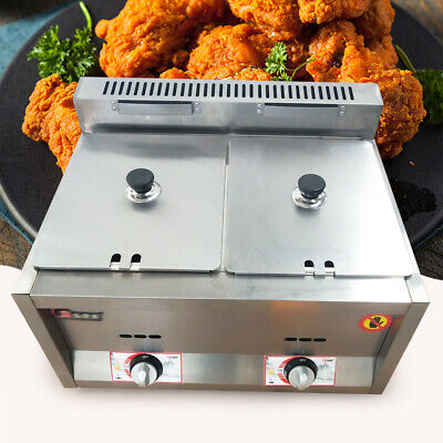 New 2 Burner Commercial Deep Fryer Ng Gas Use Counter Top Outdoor Indoor Fryer