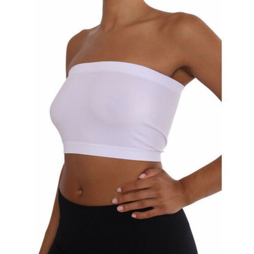 Women Tube Top Bra Seamless Bandeau Strapless Bralette Stretch Solid Crop Top 6