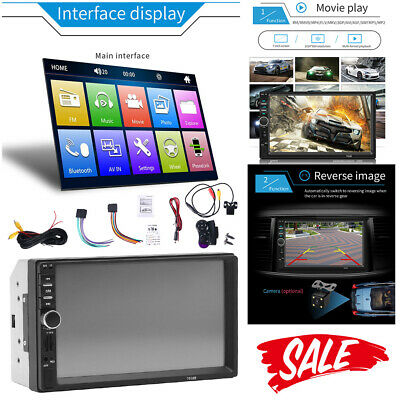 "7"" Double 2 DIN Car MP5 Player Bluetooth Touch Screen Stereo Radio With Camera"