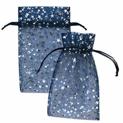 Pack of 12 Blue w/ Silver Stars Organza Bags Metallic Drawstring Gift Bag 4x5