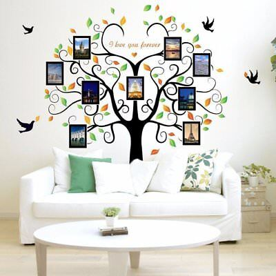 Family Tree Picture Frame Set For Walls Photo Decal Collage 9 Frames Home Gift ()