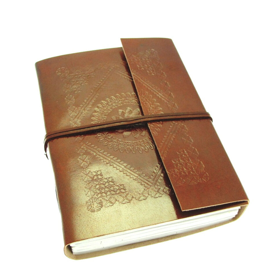 Fair Trade Handmade Large Embossed Leather Journal Diary Notebook 2nd Quality