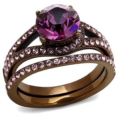 Chocolate Wedding Ring (Women's Chocolate Plated Stainless Steel Wedding Engagement Ring Set Size)