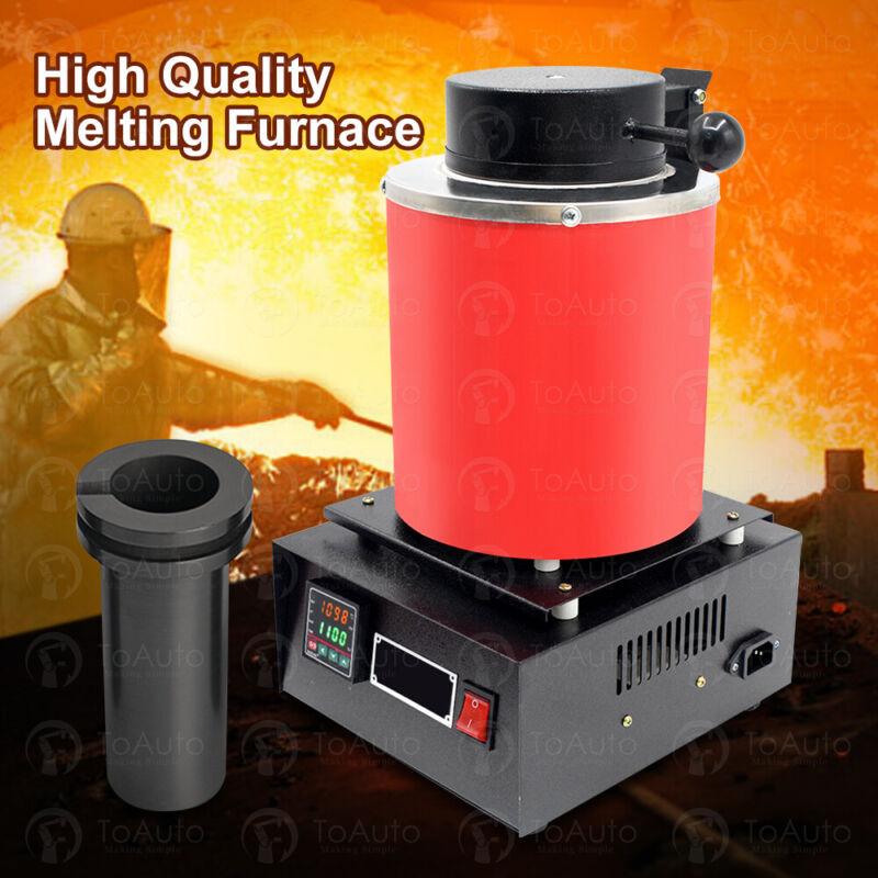 TOAUTO 3KG Gold Melting Furnace 1400W 2000F Digital Electric Melting Furnace US