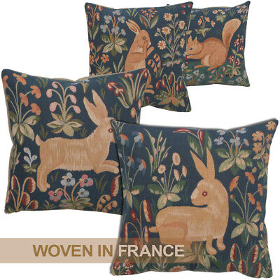 French Tapestry Throw Pillow Cover Rabbit Squirrel Medieval Dark Navy Blue Woven