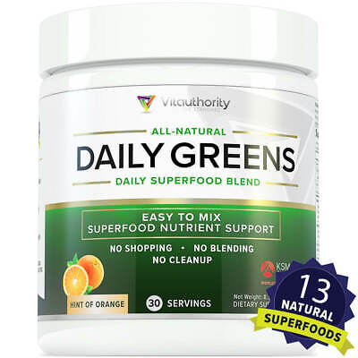 Daily Greens Best Tasting Non-GMO Superfood Greens Powder, Hint of Orange,