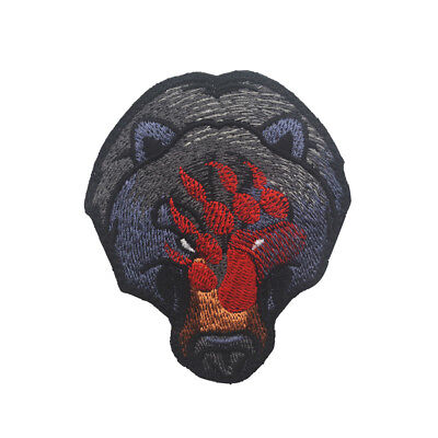 Black Bear War Bears Red Paw Full Embroidered Tactical Morale Hook Loop Patch](Red Paw)