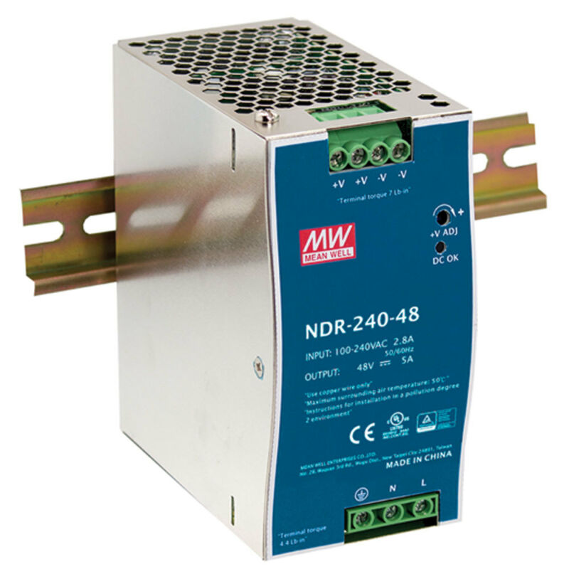 Mean Well NDR-240-48 48 Volt 5 Amp 240 Watt Industrial DIN Rail Power Supply