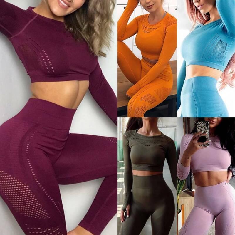 Ladies Seamless Yoga Suit Push Up Hip Leggings+Crop Top Fitness Sports Gym Sets