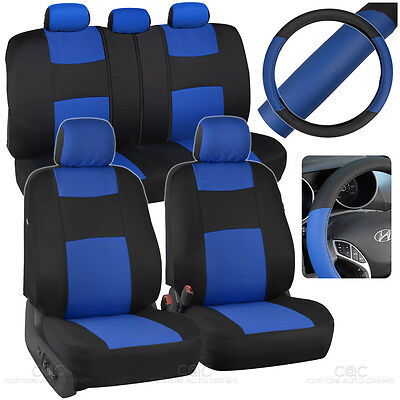 Black/Blue Car Seat Covers for Auto w/ 2 Tone PU Leather Steering Wheel Cover
