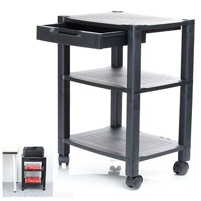 Mobile Printer Stand Organizer Table Rack Office Computer Laptop Cart Roll Desk